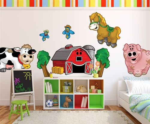 Farm Animals Theme Nursery Wall Decor L And Stick Murals For Bedroom Playroom Stickers Made In Usa