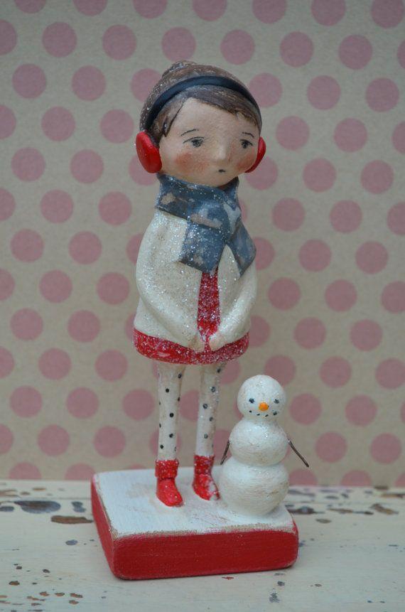 Folk Art Paperclay Winter Friends Doll Snowman by apinchofprim, $65.00