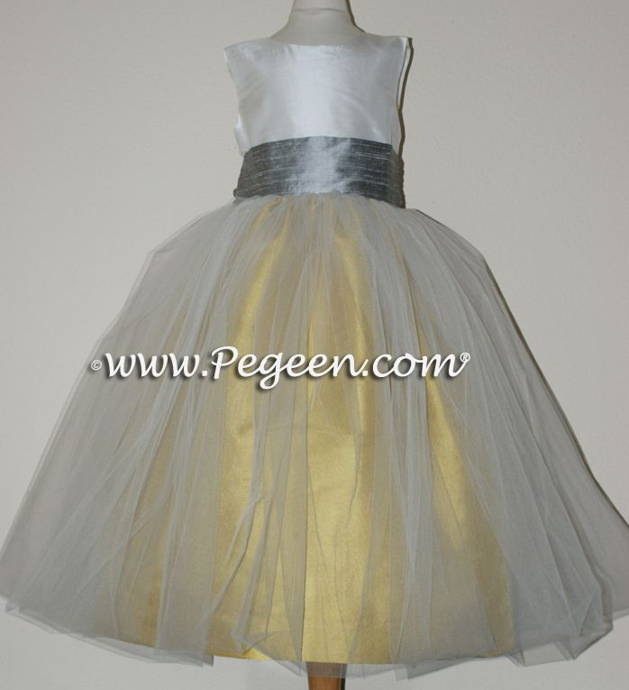 Flower girl dress style 356 mustard with silver sash all silk flower girl dress style 356 mustard with silver sash all silk with attached crinoline mightylinksfo