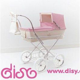 2eed5e872 Coche de muñecas Bebelux modelo Paris en beig y rosa. Replica de los coches  para bebes de verdad. Un lujo para tus muñecas.