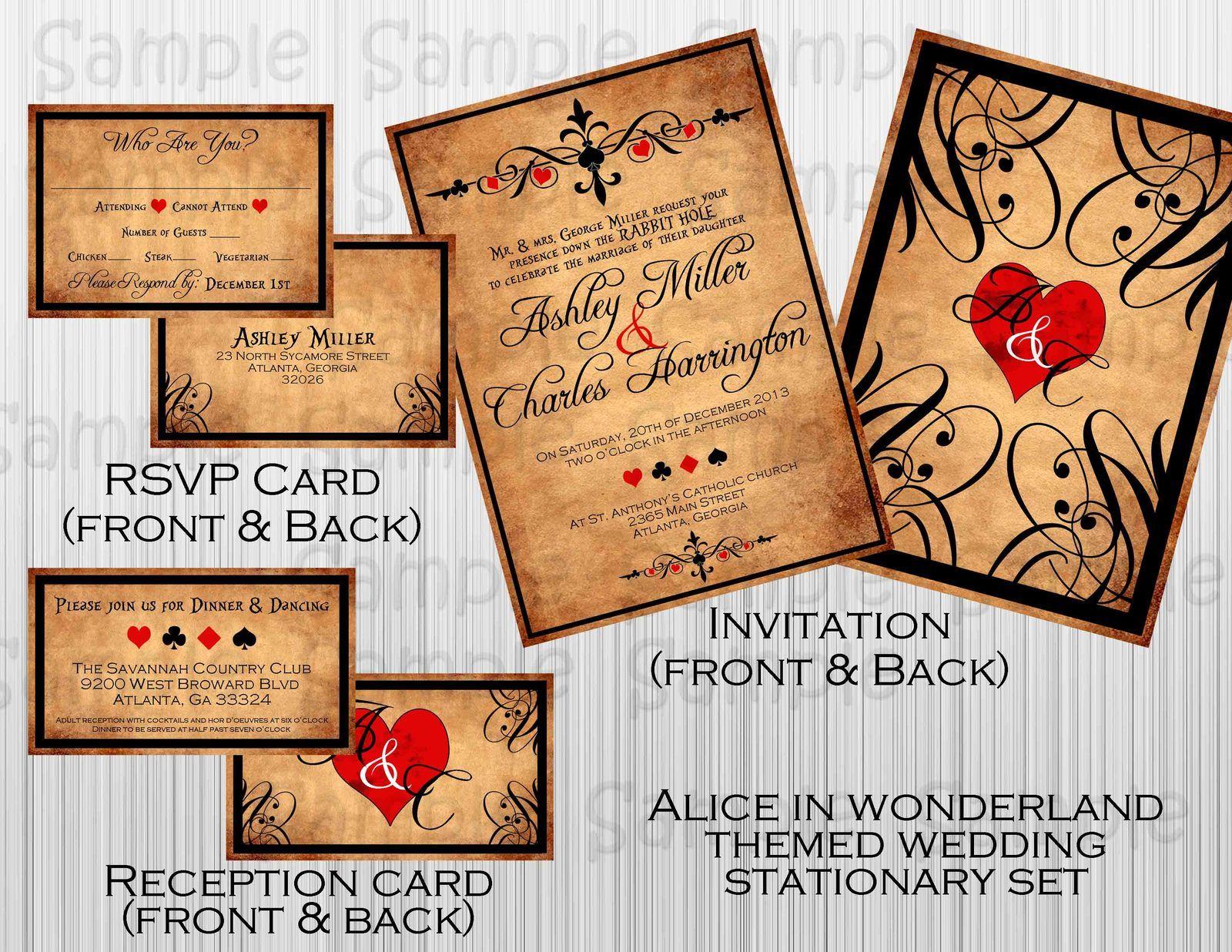 3 Alice in Wonderland Wedding Invitations  Wedding Invitation