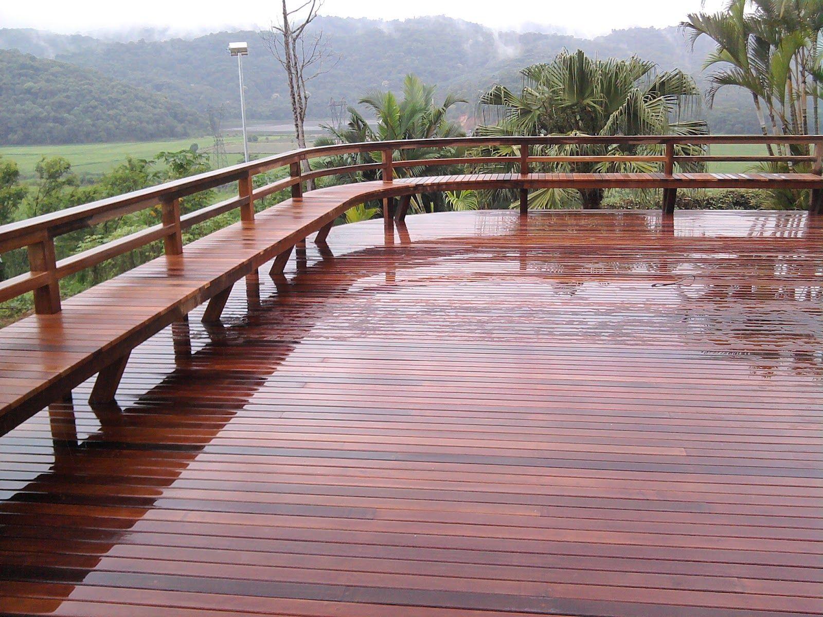 Rolf Trettin Carpintaria & Arte em Madeira: Deck de madeira com banco / guarda-corpo