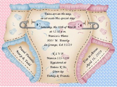 Two  Twin Baby Shower Invitations. Could Use It For Gender Reveal Party  Invites As Well