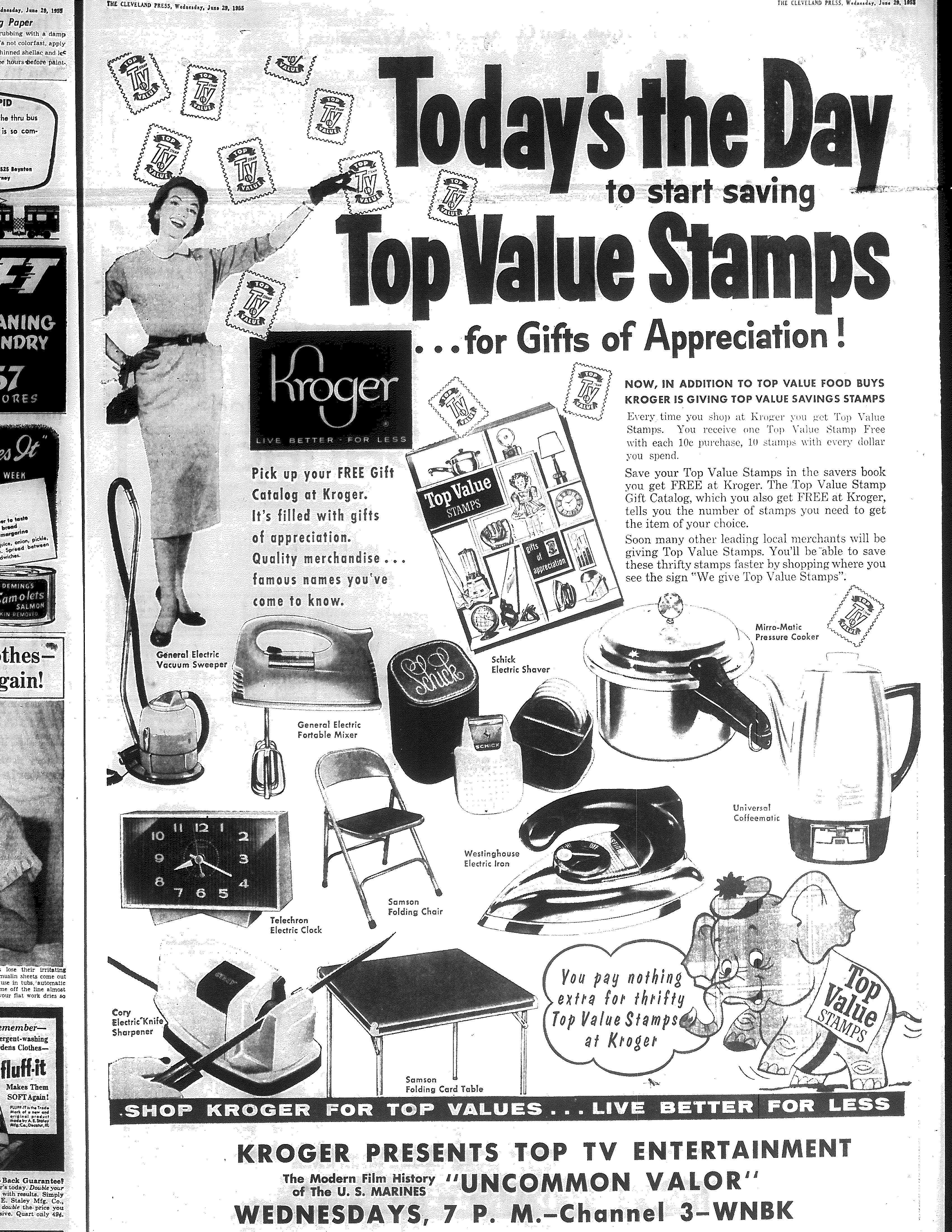 Kroger Top Value Stamps ad 6/29/1955 | Vintage Ohio Grocery Ads ...
