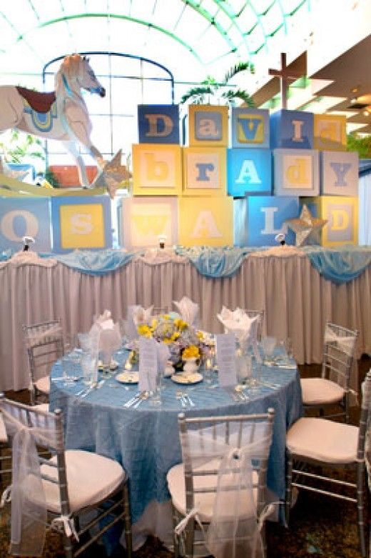 Beautiful baptism reception table with unique baby name for Baby name decoration ideas