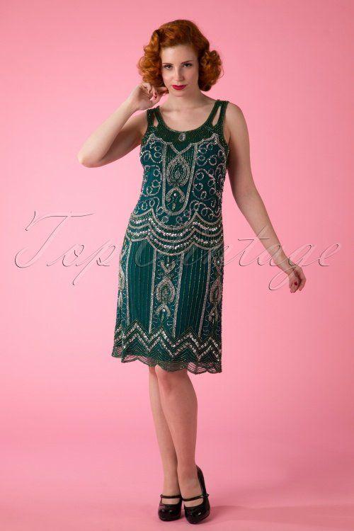 Frock and Frill 20s Flapper Ziegfelt Dress Green 106 40 14003 20150418 0004W