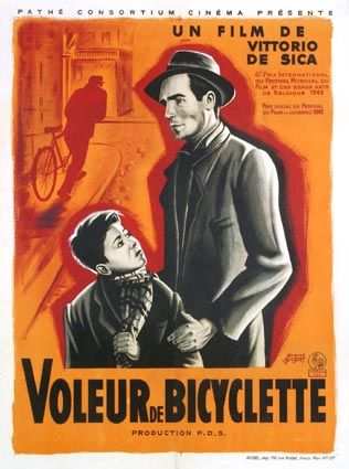 """Le voleur de bicyclette"" de Vittorio de Sica avec Lamberto Maggiorani, Enzo Staiola. Italie. 1948"