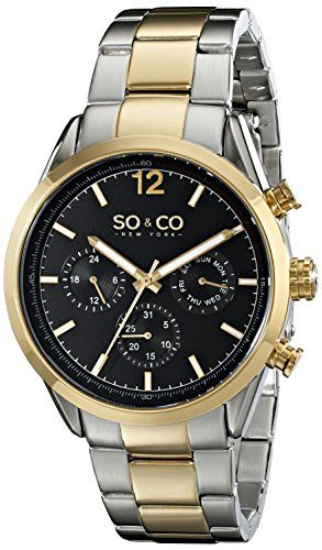 Soco New York Mens 50044 Monticello Quartz Day And Date Twotone
