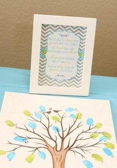Have People Sign Fingerprints On A Canvas As A Guestbook For A Baby Shower!  Via KarasPartyIdeas.com