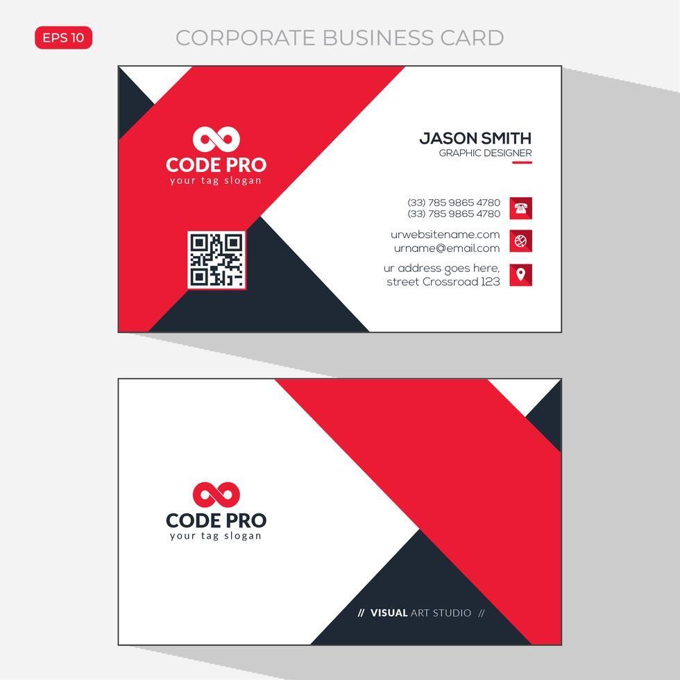 Red Shape Visit Card Business Card Mock Up Green Business Card Design Modern Business Cards Design