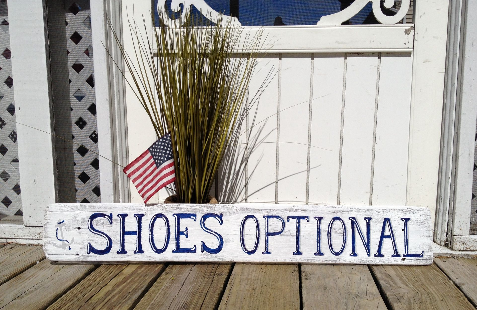 Shoes optional sign with anchor, Beach Wedding sign, nautical ...