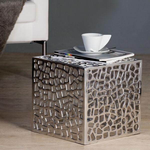 Table basse cage finition aluminium http deco maison for Table de nuit originale