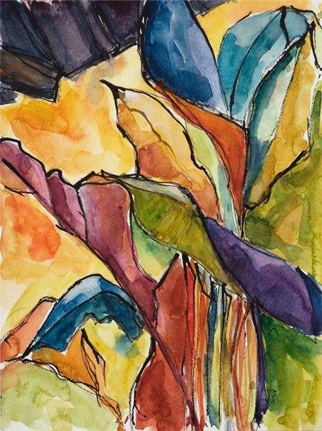 Art Painting Watercolor Tropical Banana Leaves Landscape Caribbean