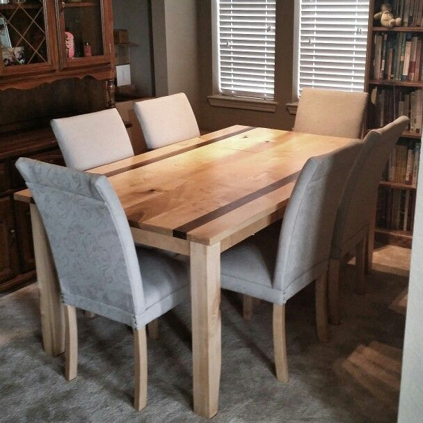 Solid Maple Dining Table With Walnut Accents Along With 6 High Back Upholstered Maple Chairs Maple Dining Table Dining Table Maple Chair
