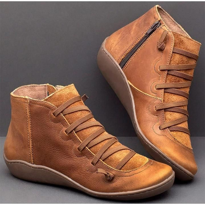 Vintage Strappy Leather Ankle Boots for Women