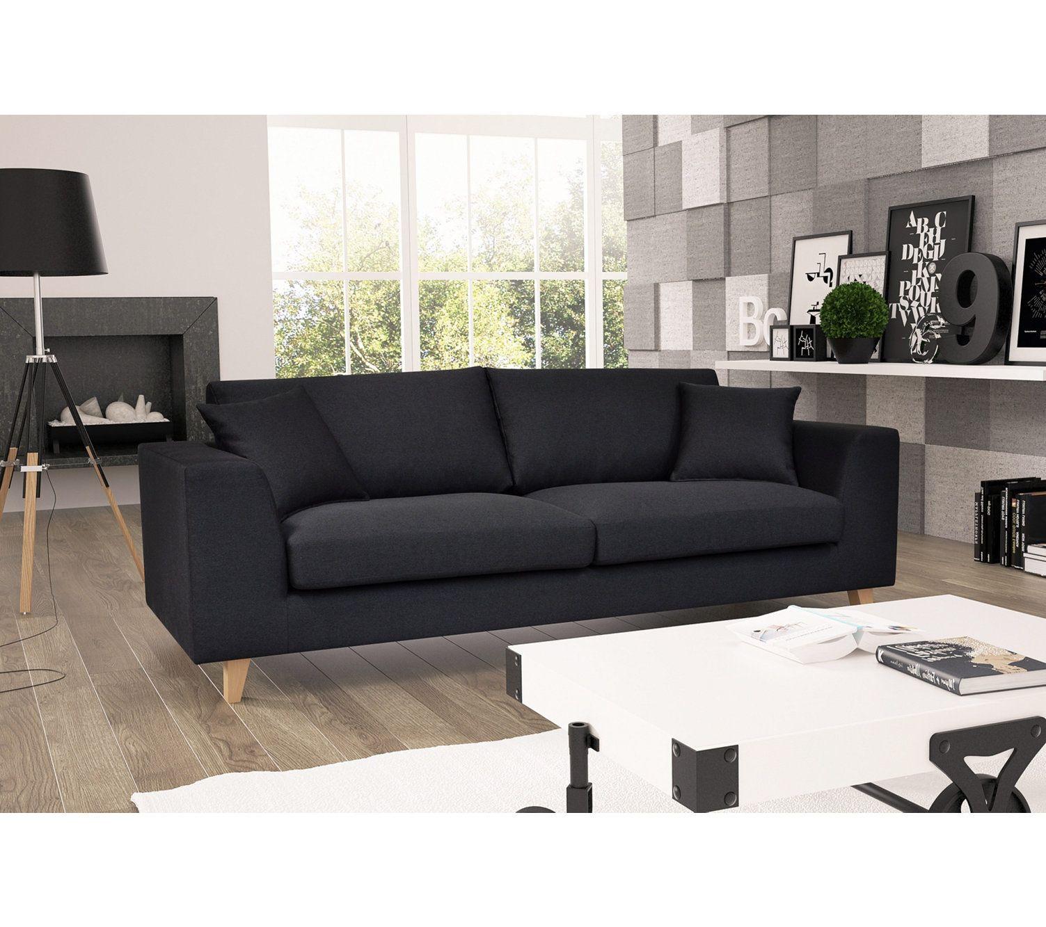 Canape 3 Places Bilbo Tissu Gris Anthracite Living Room Sofa Living Room Home