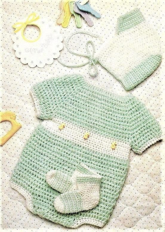 Vintage Crochet Pattern Baby Boy Ducky Sunsuit Bubble