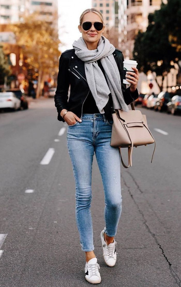 simple outfit for spring : scarf sneakers bag skinnies moto