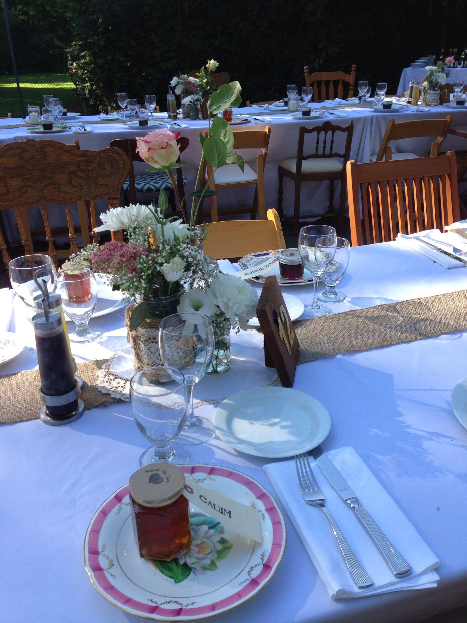 September Wedding Table Setting Burlap And Lace Mason Jars, Assorted Size