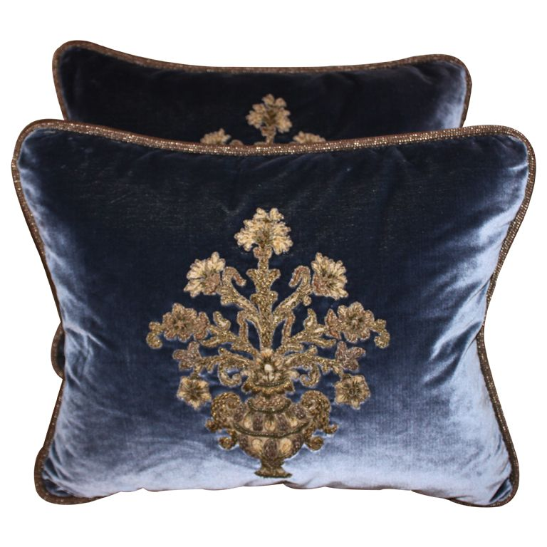 Thistle Sage Apartments: Pair Of Metallic Appliqued Velvet Pillows