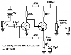 Original PNP Germanium Fuzz Face Schematic | Pedal Tech | Pinterest on marshall schematic, compressor schematic, simple tube amp schematic, super fuzz schematic, harmonic percolator schematic, overdrive schematic, tube screamer schematic, wah schematic, tremolo schematic, fuzz pedal schematic, simple fuzz box schematic, muff fuzz schematic, tube driver schematic, distortion schematic, mutron iii schematic, ts9 schematic, 3 pole double throw switch schematic, solar charge controller schematic, colorsound overdriver schematic, univibe schematic,