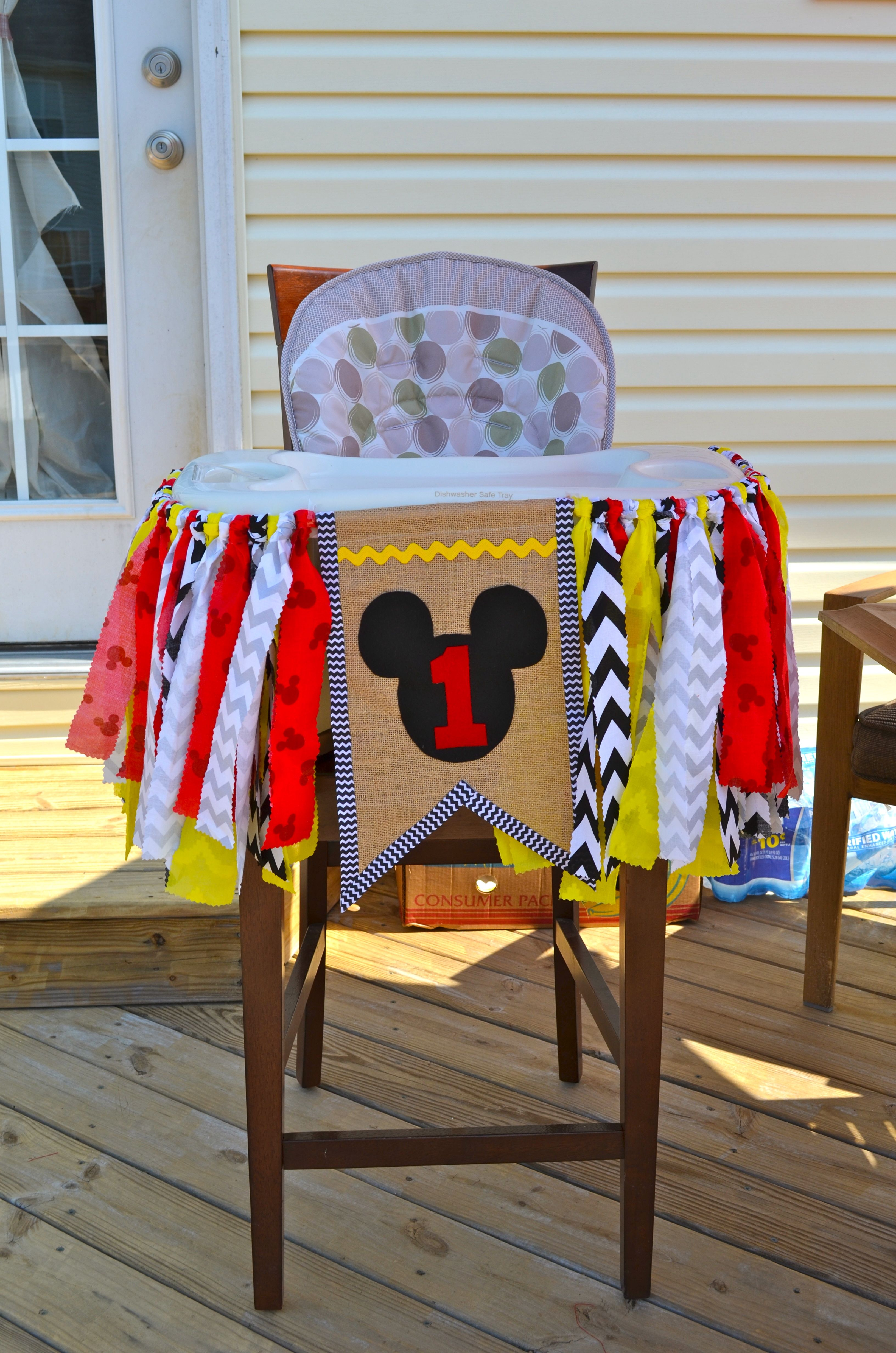high chair decorations 1st birthday boy power recliner reviews mickey mouse decoration for crafty time