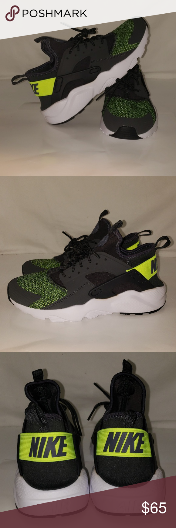 23aa642e1c Nike Huaraches size 7 youth New item Size 7 Nike Huaraches Brand: Nike  Color: Anthracite / bolt cool Grey (neon yellowgreen/ grey/white )  Material: ...