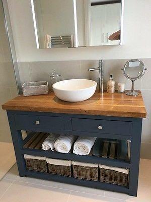 Solid Oak Vanity Unit-Washstand-Bathroom Furniture-Bespoke-Rustic in
