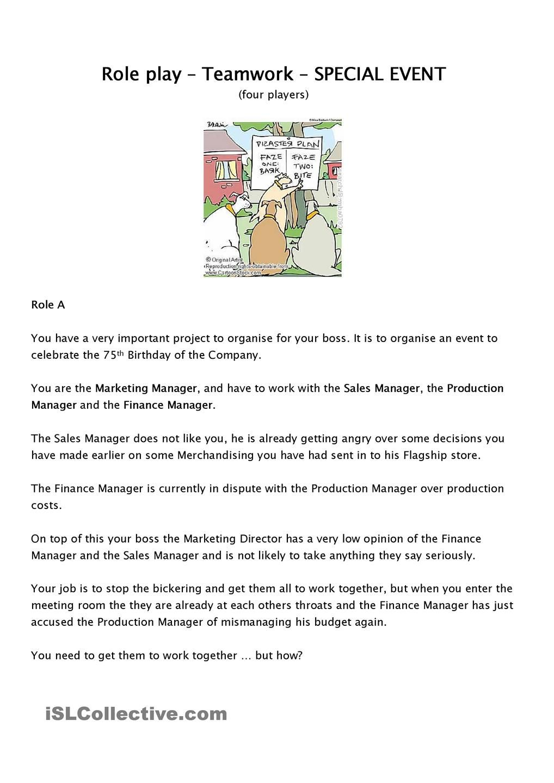 medium resolution of Role play - team work   English lesson plans