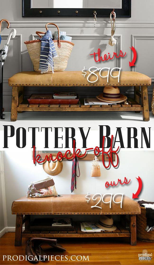Why Pay Bucks For Pottery Barn When You Can Diy Less Than Half The Retail Cost We Built A Knock Off Of Pb Caden Leather Bench
