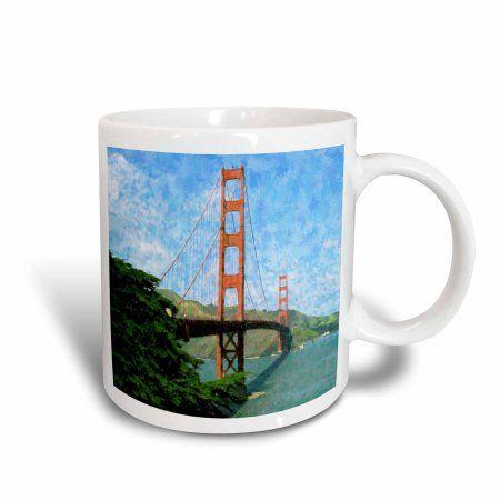 3dRose Golden Gate Bridge Impressionism, Ceramic Mug, 15-ounce