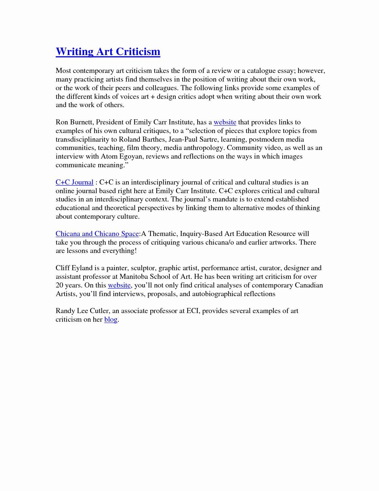 Art Critique Example Essay Elegant Art Critical Analysis Essay