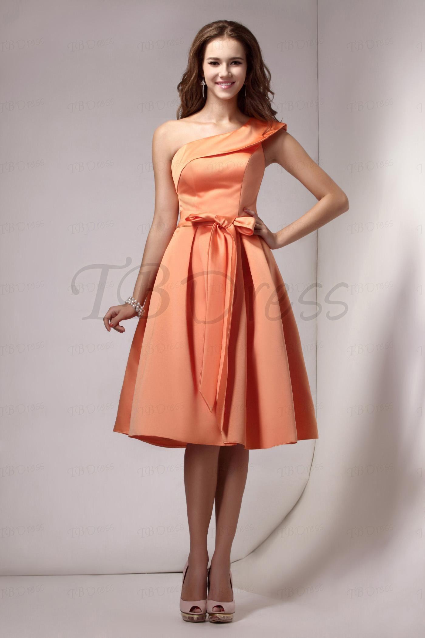 Ruched aline sashesribbons oneshoulder short bridesmaid dress