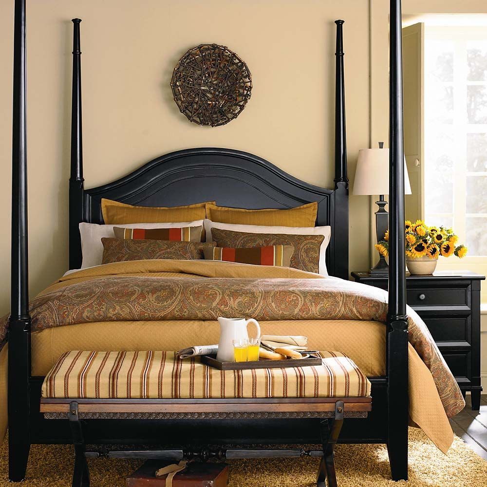 Poster Bedroom Furniture Classic Four Poster Bed With White Linens Neutral Master
