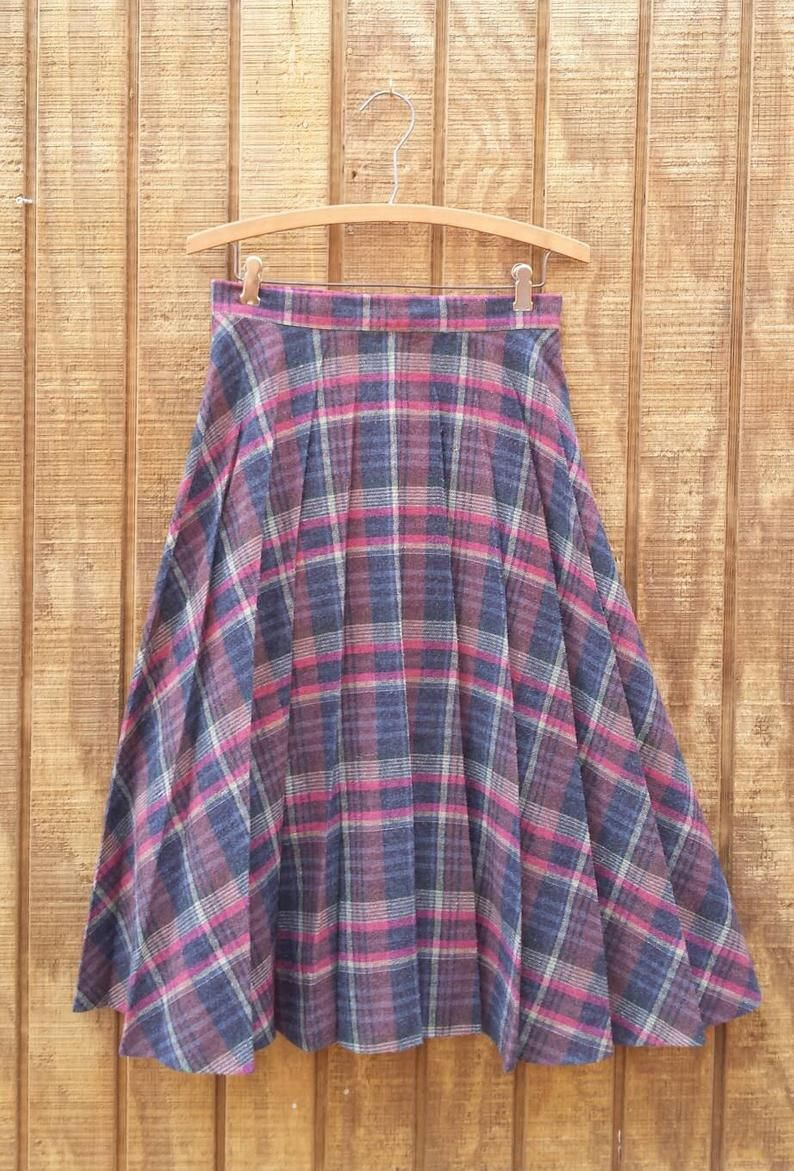 8005a0897 Vintage 60s Retro High Waist Pleated Plaid Multi-colored Wool Pleats ...