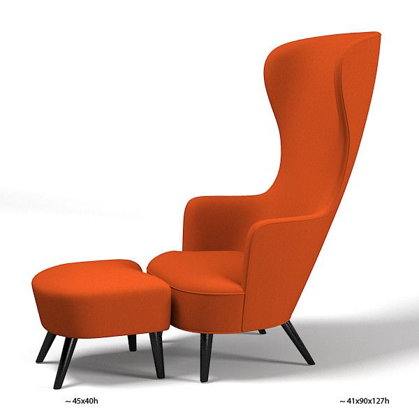 Awesome Tom Dixon Wingback Chair Wing Footstool Modern Contemporary High Back Tall  Designers