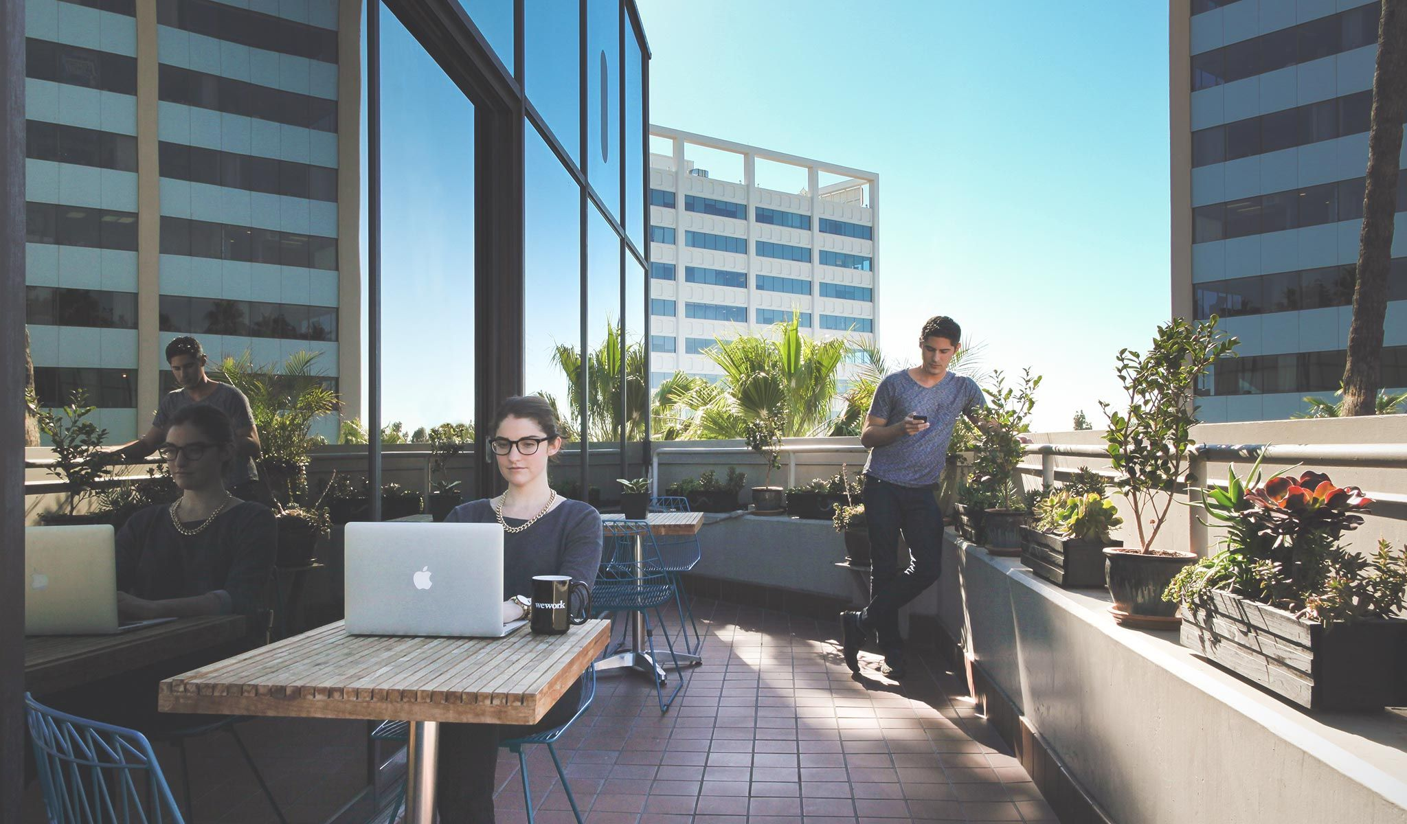 outdoor office space. Wework Hollywood Outdoor Balcony Roof Terrace Ideas For Office Space