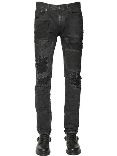 f9d1101f5ba DIESEL BLACK GOLD - 17CM WOOL PATCHED DESTROYED DENIM JEANS - LUISAVIAROMA  - LUXURY SHOPPING WORLDWIDE SHIPPING - FLORENCE