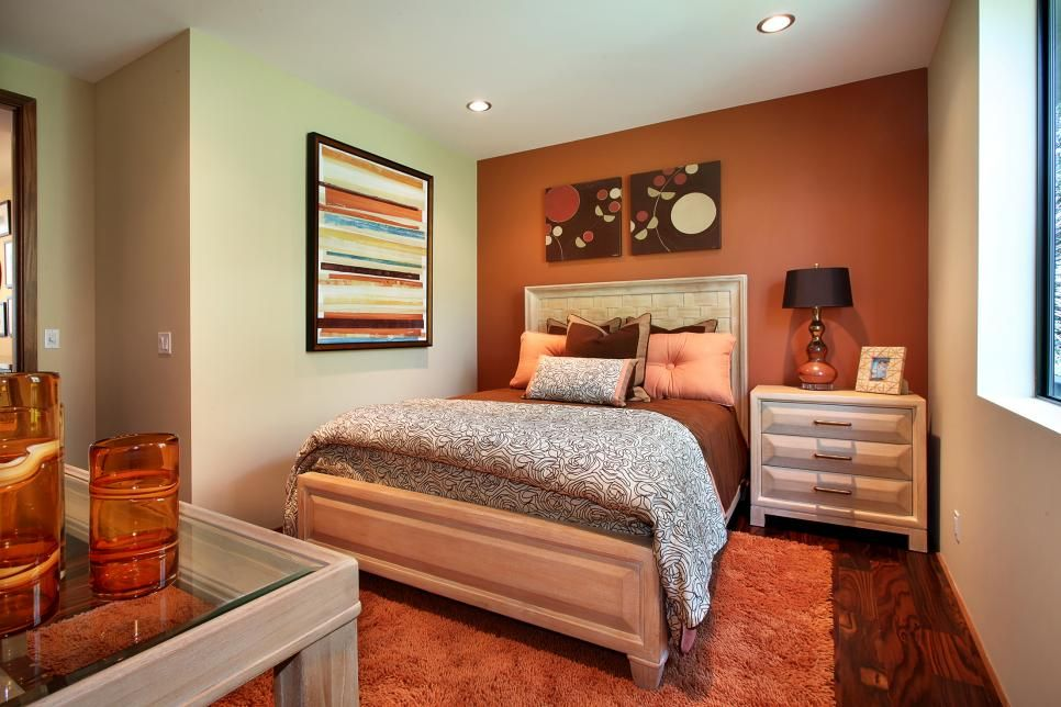 Orange Accent Wall Energizes Transitional Bedroom Living Room Orange Bedroom Orange Orange Bedroom Walls