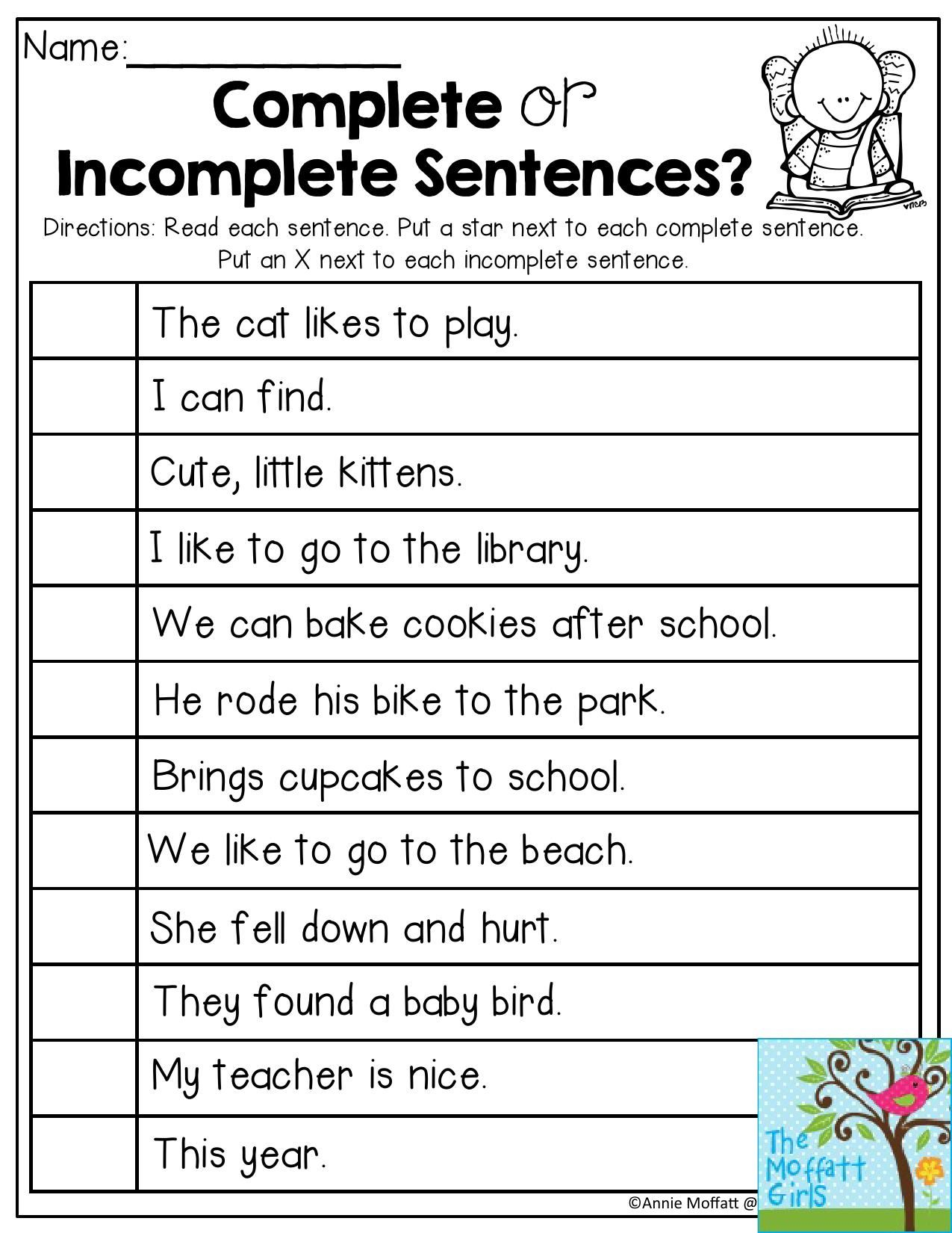 Complete or Incomplete Sentences- Read each sentence and decide if the  sentence is complete or …   Teaching writing [ 1650 x 1275 Pixel ]