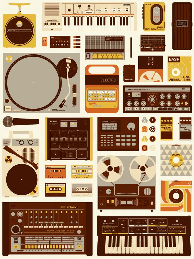 Here's a special dedication to the lovers and collectors of electronic musical gadgets, gizmos, pedals, beat machines, and dusty analog cassettes and records.    Tools of the Trade art print by Mike Davis.