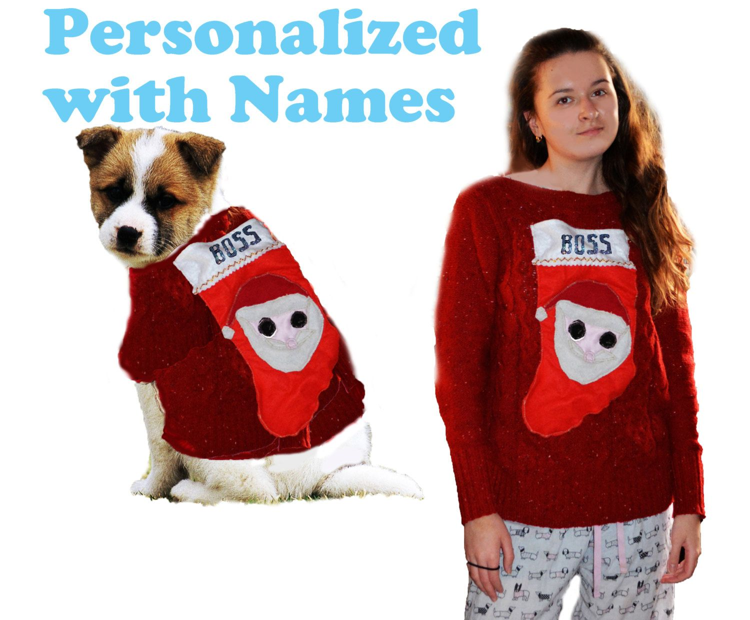 usa charity seller dog all sizes owner l holiday christmas matching sweater matching personalized with names custom dog owner sweater by hoppypuppies