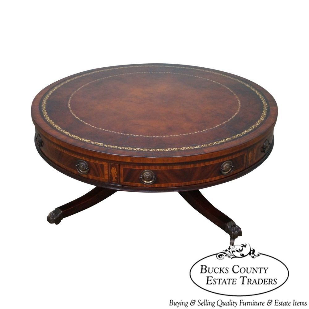 Baker Vintage 1940s Mahogany Leather Top Round Revolving Regency Coffee Table