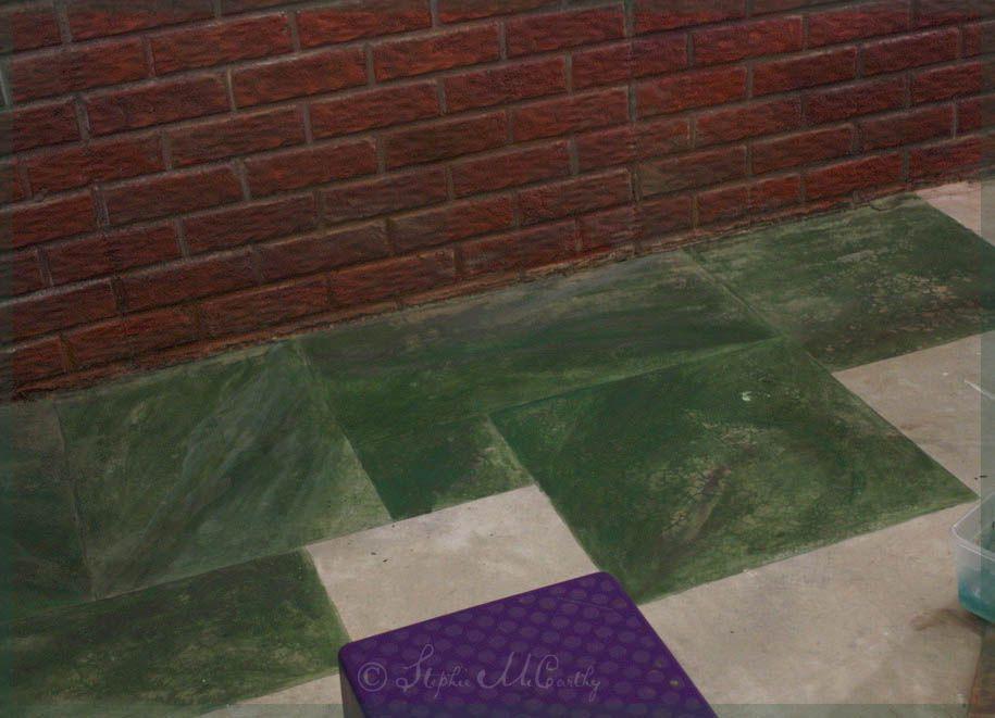 Faux Marble on a Concrete Floor Concrete floors, Painted