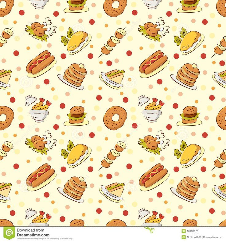 Seamless Cute Food Pattern - Download From Over 28 Million ...