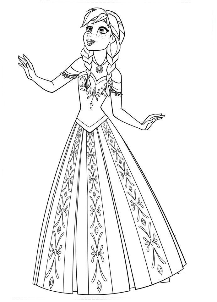 Anna Cantando Frozen Para Colorir Paginas Para Colorir Da