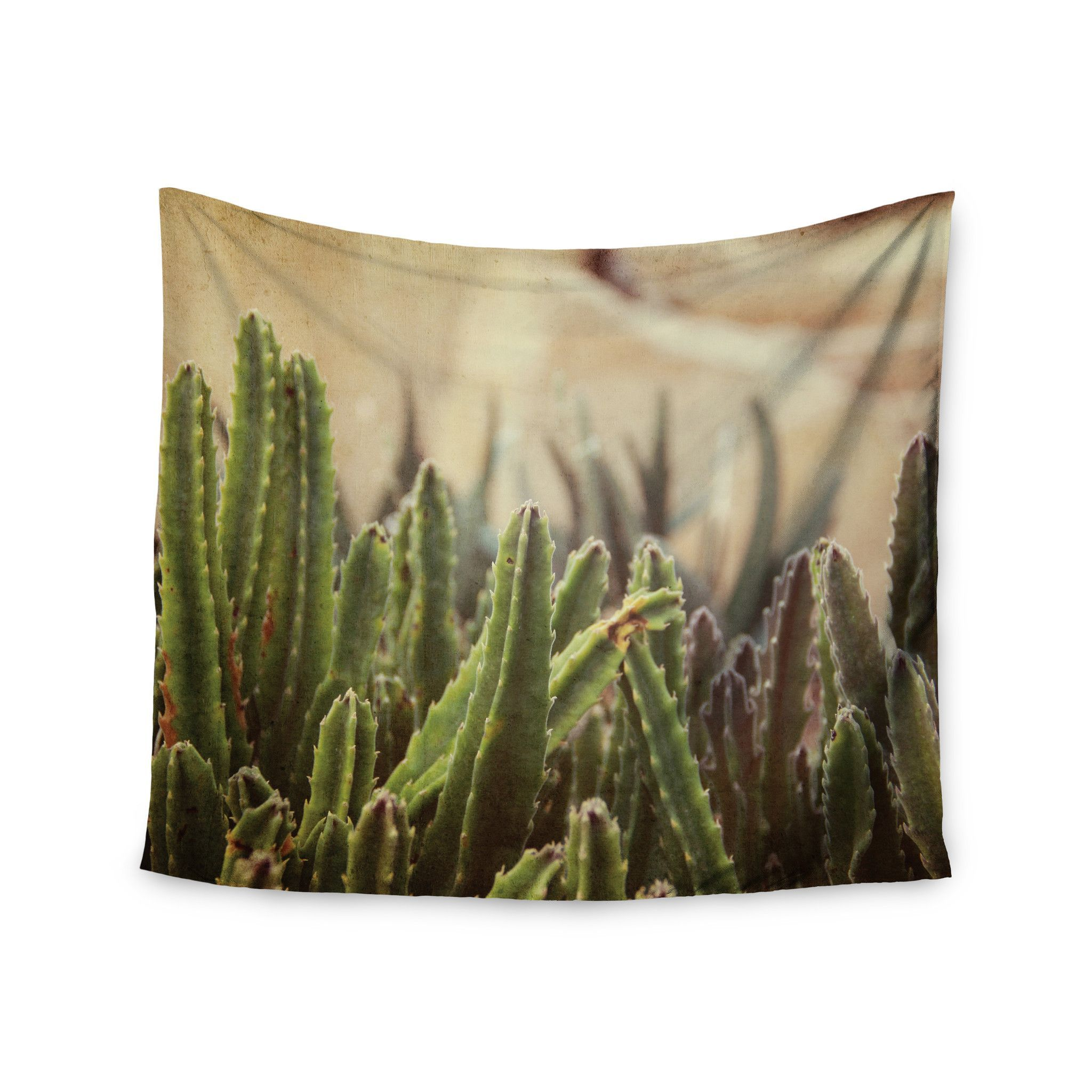"""Jillian Audrey """"Green Grass Cactus"""" Green Brown Wall Tapestry - KESS InHouse  - 1"""