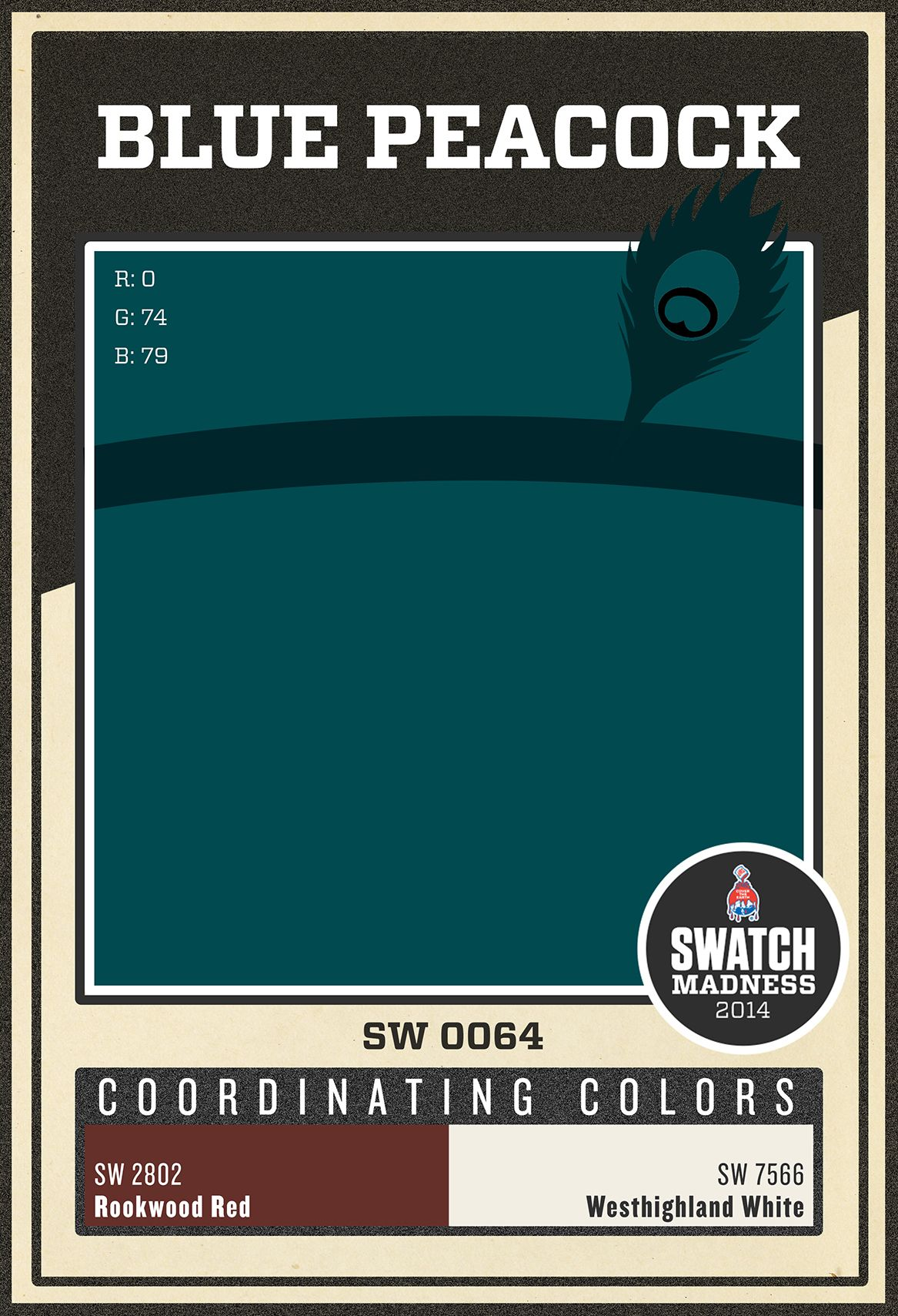 Sherwin Williams paint color Blue Peacock SW 0064