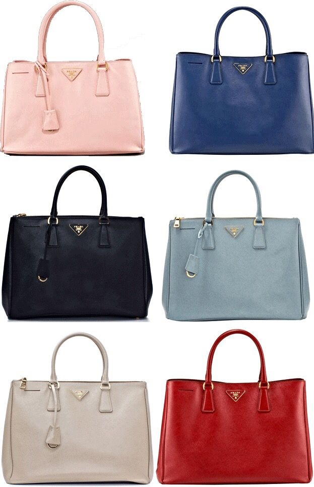 5655d1693dfa Gardener's Totes in Pink, Navy, Black, Light Blue, Beige & Red Saffiano  Leather | Prada