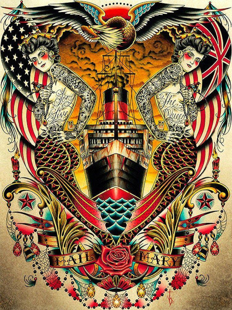 Hail by tyler bredeweg tattooed mermaid queen mary canvas